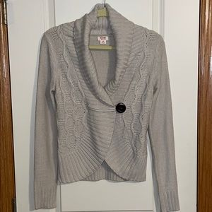 Mossimo Cream Button Cardigan Cable Knit Sweater S